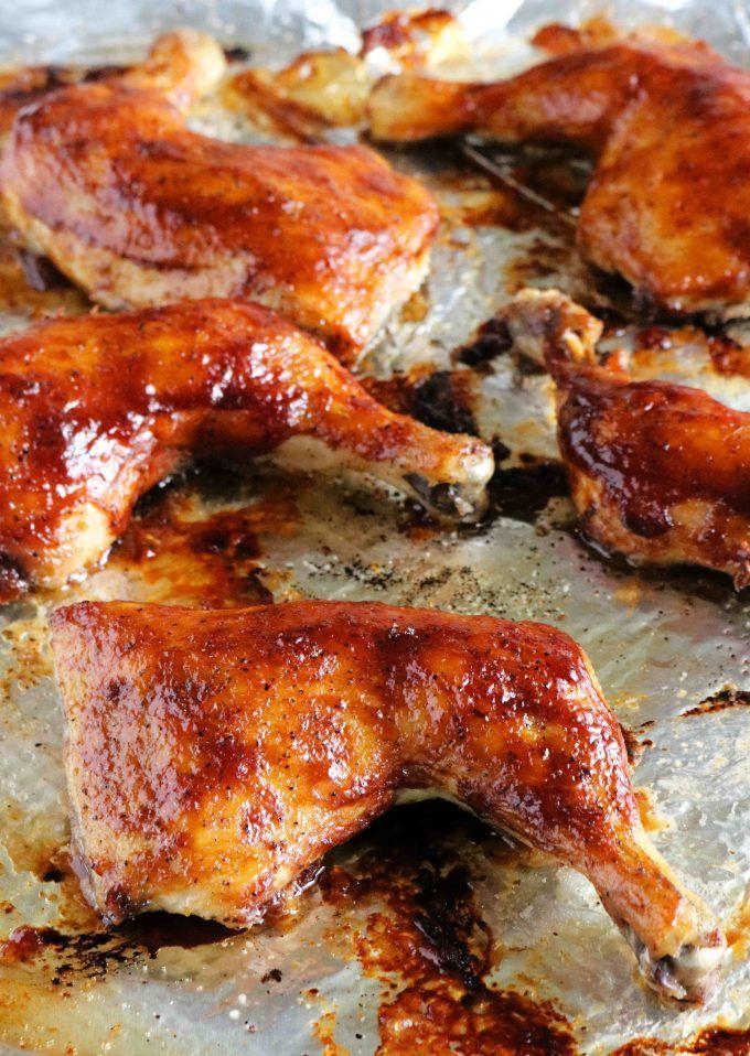 piernas de pollo al horno bbq