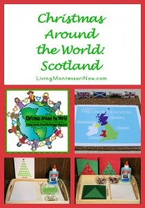 Christmas Around the World: Scotland - Information about Christmas in Scotland and Montessori-inspired pin map of the UK along with ideas for Montessori-inspired Christmas-card-making trays