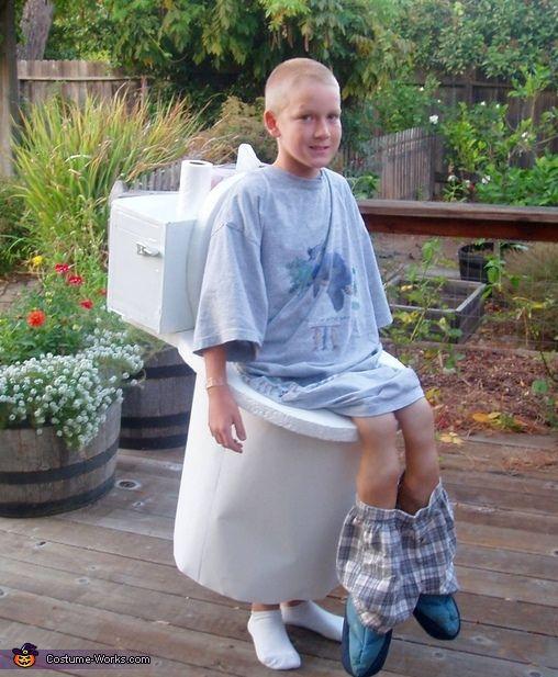 Aaron on the Toilet. Handmade costume.