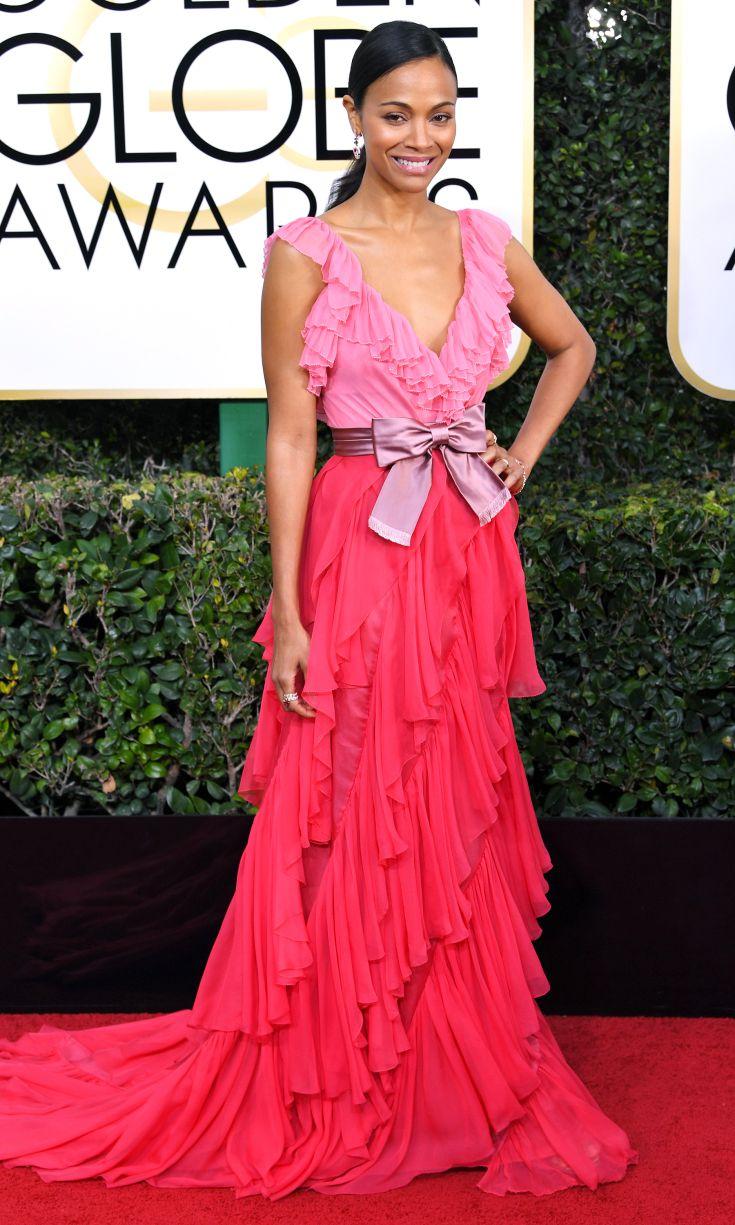 ZOE SALDANA Golden Globes. Well, this dress is lovely. So pretty.