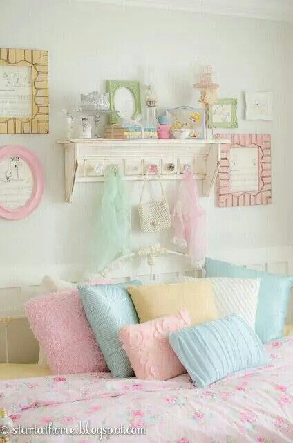Love the pastel colors shabby chic more pinterest for Shabby chic bedroom colors