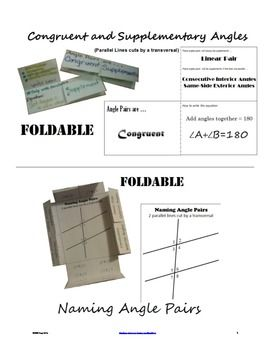 2 Foldables~Naming Angles form by Parallel Lines~Congruent