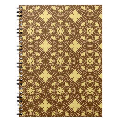 Medieval romanesque flower pattern spiral note book