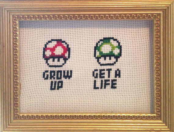 Nintendo Grow Up Get a Life framed Cross by NotNanasNeedlepoint, $15.00