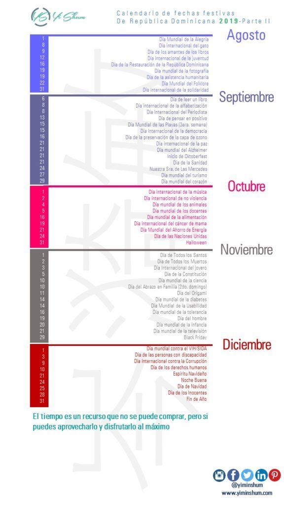 Calendario Fin De Semana 2019.Calendario De Fechas Festivas De Republica Dominicana 2019