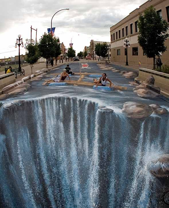 """Waterfall"" by Edgar Müller: 270 square meter River Street in Moose Jaw, Saskatchewan, Canada turned into, naturally, a river ending in a huge waterfall 