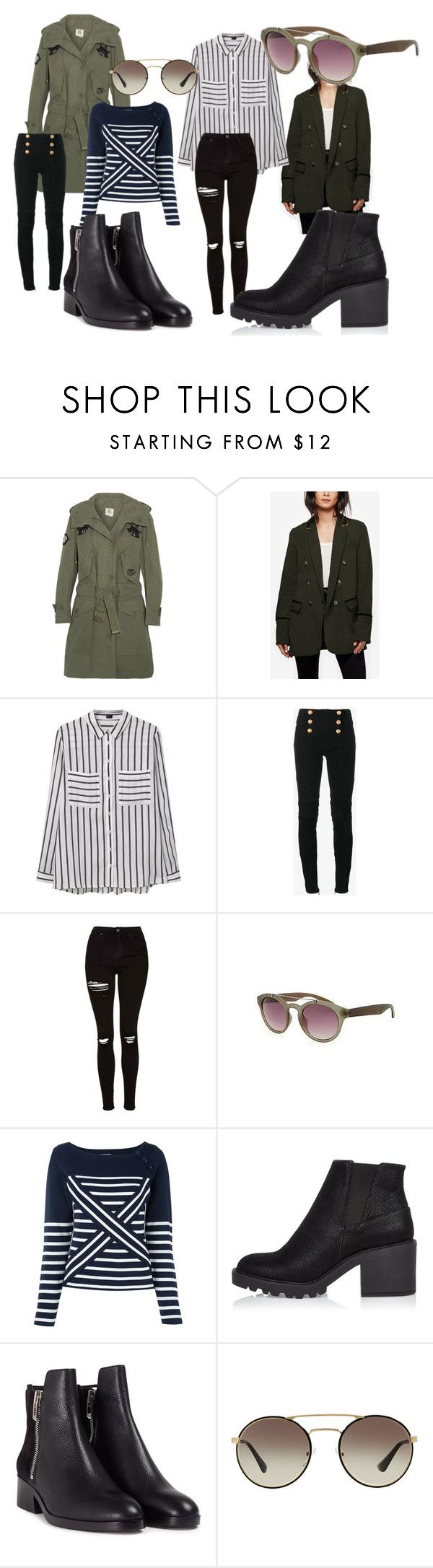 """""""Army Jackets for Fall"""" by jengrochol-1 on Polyvore featuring Figue, Free People, MANGO, Balmain, Topshop, Old Navy, Tommy Hilfiger, River Island, 3.1 Phillip Lim and Prada"""