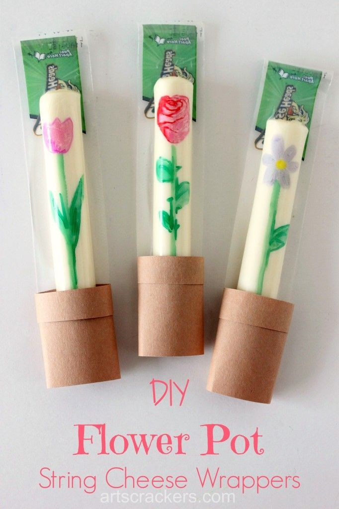 DIY Flower Pot String Cheese Wrappers Lunchbox Fillers. Click the picture to get the tutorial. Adorable spring snacks!