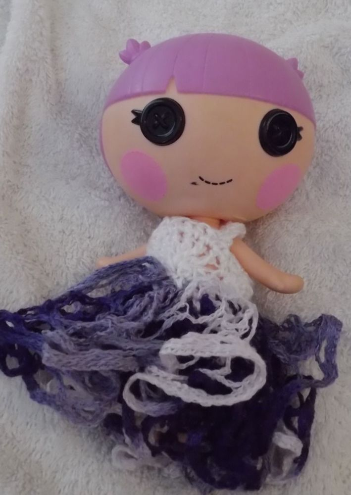 WHITE & PURPLE LalaLoopsy Little sister's dress hand crochet