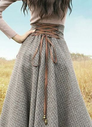Women's Skirts – #womensskirts – Jupes Quadrillé Maxi Vintage/Millésime (1282663) Womens Fashion High Waist A-Line Pleated Knee-Length Skirts Office…