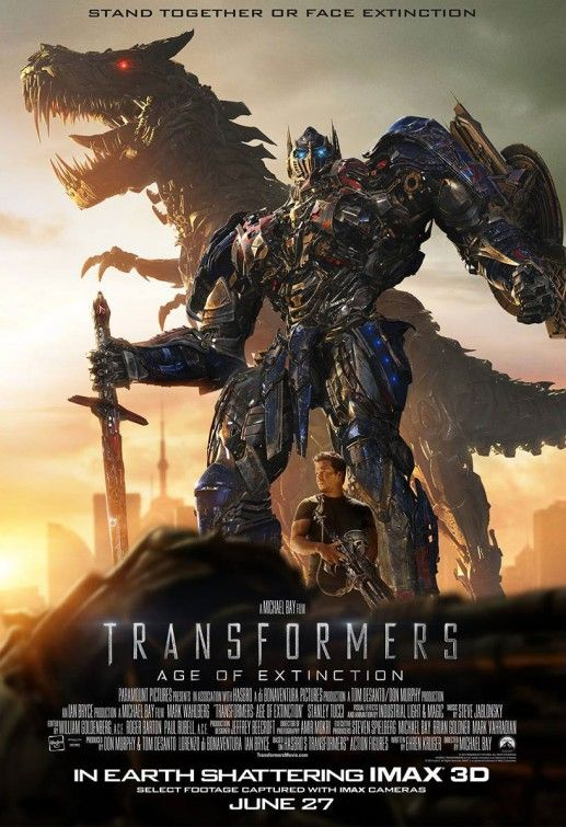 Transformers: Age of Extinction (4 stars) Wasn't certain I'd care for this without  Sam Witwicky being involved in the story. Found out it didn't matter. As a Bay fan, I enjoyed the over-the-top special effects and the all-out action sequences. Wasn't keen on the nearly three hour run time though. Wahlberg's Cade Yeager character is likeable enough in a neanderthal-ish way. The entire subplot with the daughter's boyfriend got on my nerves quickly.