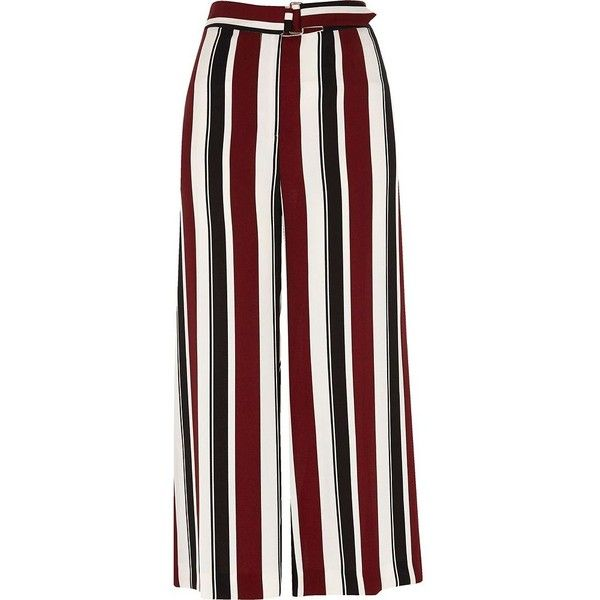 River Island Burgundy stripe wide leg belted culottes ($76) ❤ liked on Polyvore featuring pants, bottoms, wide leg pants, women, wide-leg pants, stripe pants, striped wide-leg pants, cropped pants and cropped trousers