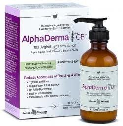 Janson Beckett AlphaDerma CE 4 oz by Janson. $72.99. Achieve Visible Results After Just One Treatment. Immediately Tightens & Firms Aged Skin. Repairs & Prevents Damaged Skin. Quickly Removes Appearance of  Fine Lines & Wrinkles. Eliminate Fine Lines and Wrinkles Unique Anti-Aging Wrinkle Cure Concentrate. Ideal for Fine Lines Under & next to Eye Area (crows feet), Wrinkles on the Forehead (frown lines) and any other place Fine Lines & Wrinkles are present The clinical ing...