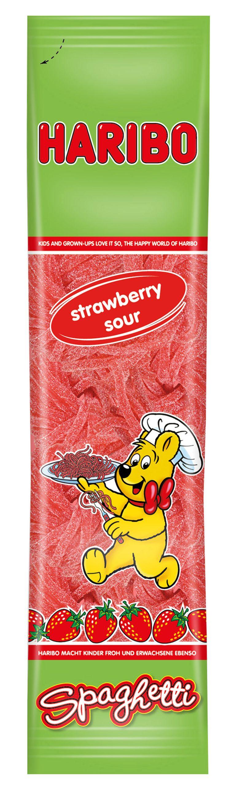 Spaghetti strawberry sour sind sauer kan rte Fruchtgummi Spaghettischnüre mit fruchtig spritzigem Erdbeergeschmack