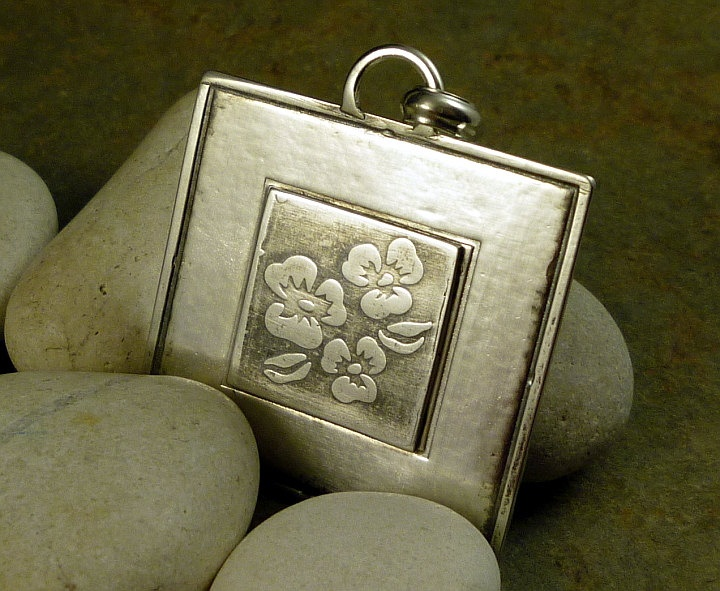 Botanical Designed Sterling Silver Square Pendant with Oxidized Pansy Flower Centre. $70.00, Bell Designs via Etsy.