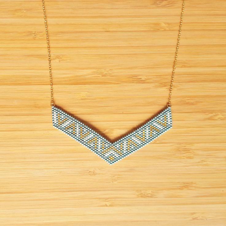 Collier Incas Aqua Plaqué or 14 carats perles de verre Miyuki