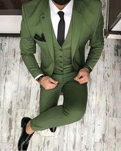 2017 Últimos Diseños Bragas de la Capa Verde de Los Hombres Traje Slim Fit Flaco 3 Unidades Tuxedo Custom Chaqueta Novio Partido Prom Trajes Terno masculino(China)
