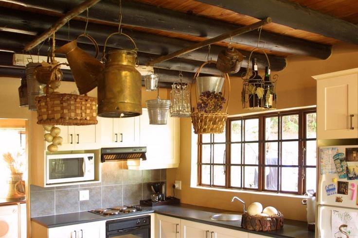Hanging baskets, pots, buckets, kitchen decor