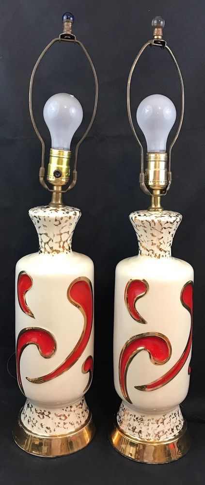 Vintage Table Lamps White Red Designs Gold Trim MCM Collectible Gift | Collectibles, Lamps, Lighting, Lamps: Electric | eBay!