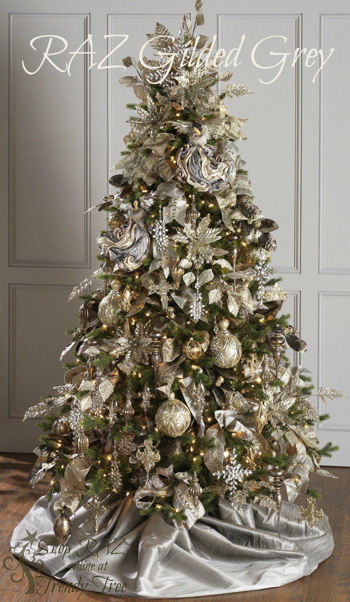 temtica de rbol de navidad de raz de colores dorado y plateado