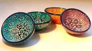 4 DIFFERENT COLORED BOWLS FROM TURKEY Diameter :  7.5 cm. / 2.95 inch Height : 3 cm. /  1.18 inch  IDEAL FOR NIBBLE BOWL VERY STYLISH