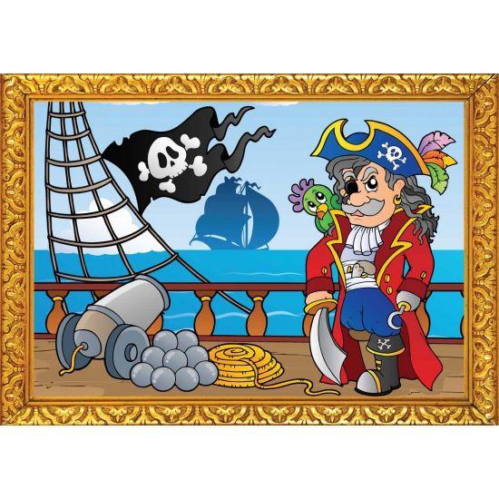 Piraten poster, piraat op de boot. Formaat A2 - 59 x 42 cm. Leuke piraten thema poster voor op een piratenfeestje of kinderkamer.