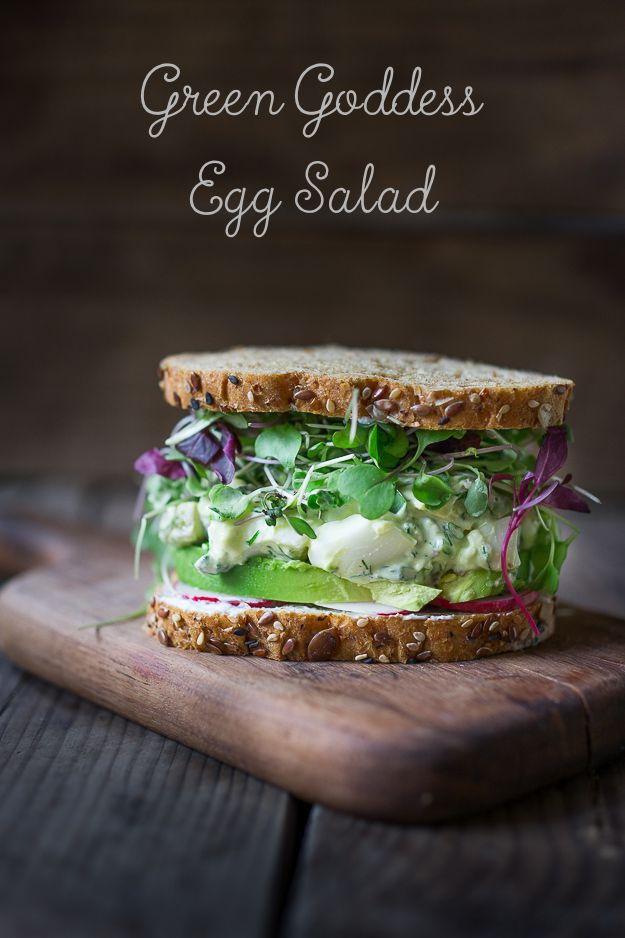 Green Goddess Egg Salad with Avocado- make into a sandwich, or on bruschetta or over a bed of greens! | www.feastingathome.com