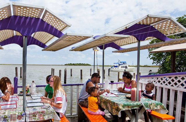 Boss Oyster restaurant puts diners right on the Apalachicola River. Time it right and watch your meal being off loaded.