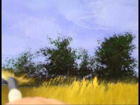 Dessin et peinture - vid�o 487 : Peindre arbres et arbustes avec un pinceau �ventail.