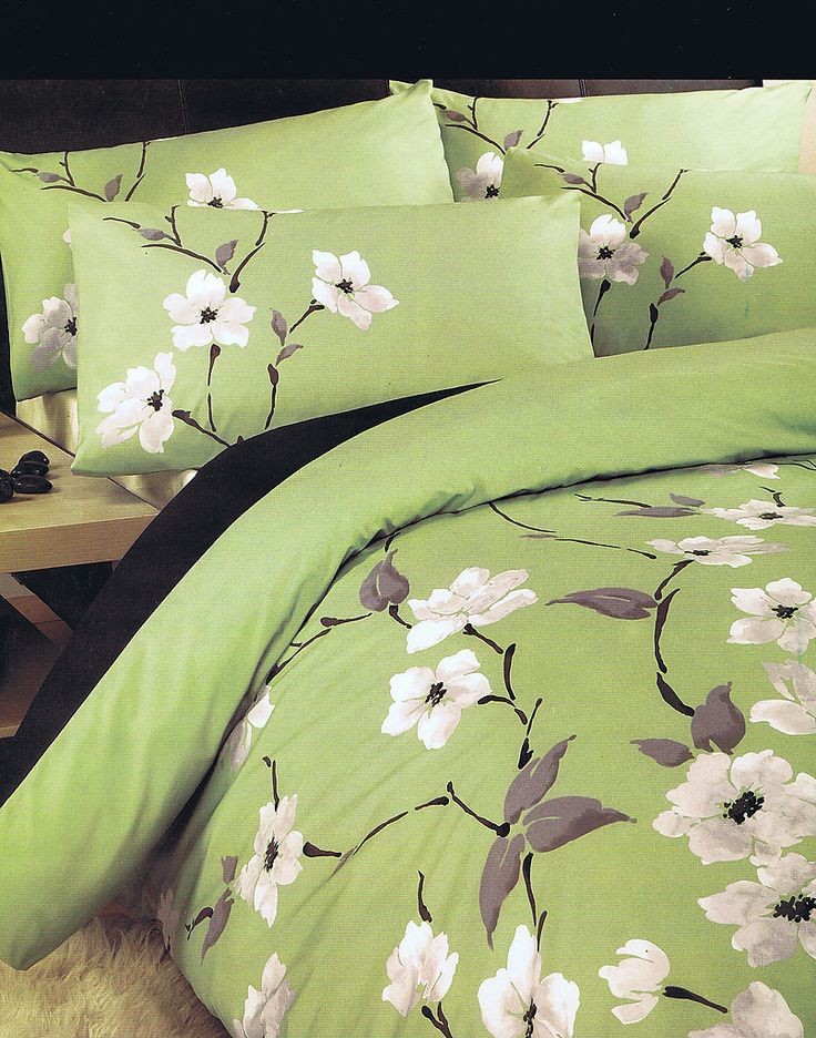 Chichi Floral Flowers Olive Green Single Bed Size Duvet