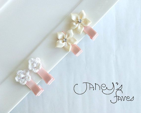 Baby Flower Hair Clips Infant Hair Clips baby hair by Janeysfaves