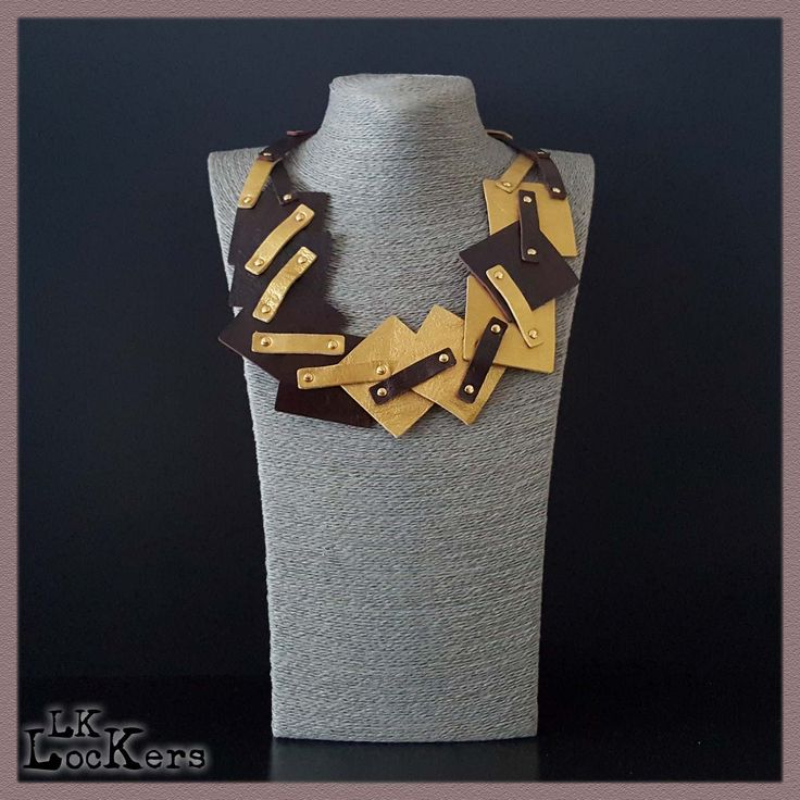 leather necklace handmade in Italy Collane in Pelle : DYSIS - GOLD2 01