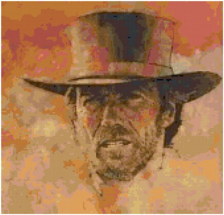 Counted Cross Stitch Original Pattern Of Clint Eastwood Western Style