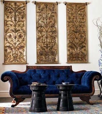 amazing navy blue velvet vintage antique sofa