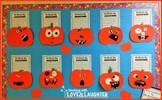 Cute blend of writing and art!  Post describes the writing and includes a free writing template to download.  Teaching With Love and Laughter: Pumpkin Writing Bulletin Board