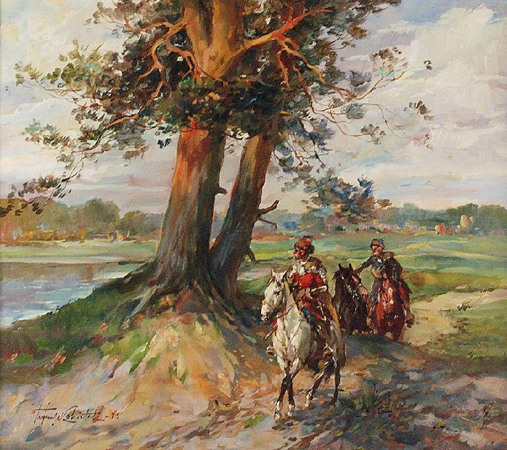 Tadeusz KOKIETEK (1920-1982)  Jeźdźcy - scena z XVII wieku, 1975 olej, płótno; 65,5 x 73,5 cm; sygn. i dat. l. d.: Tadeusz Kokietek 75