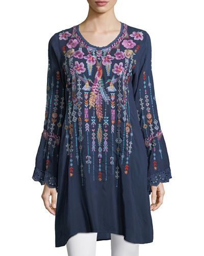 Lulu Embroidered Georgette Tunic Plus Size Blue Night Johnny Was