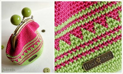 Podarёnka: Crochet purse: green apple & pink