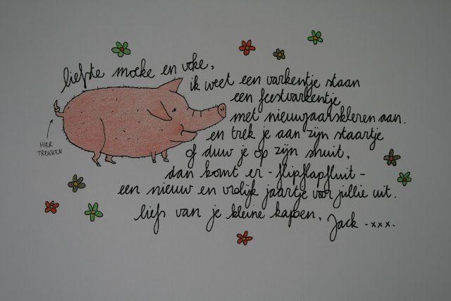 Als kinderen groter zijn, zelf varken laten tekenen. En dan als staart een touwtje aanknopen