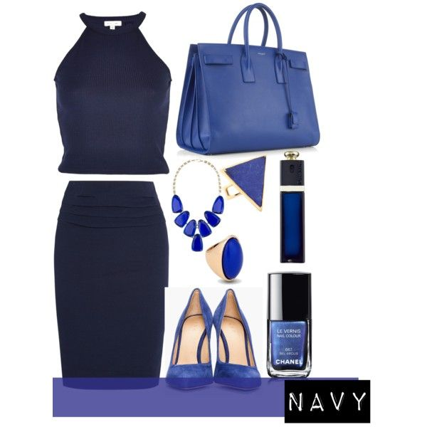 """Navy dress"" by jaeliene on Polyvore"