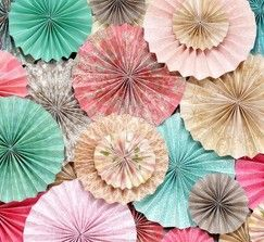 Pink, Teal, Light Tuquoise, Beige and Brown Paper Rosettes (Featured on HWTM)