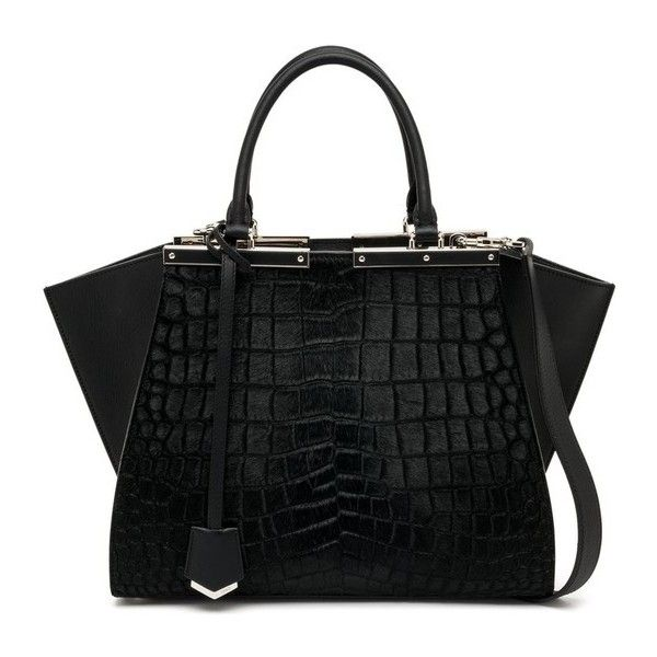 Fendi 3Jours Crocodile-Embossed Calf Hair & Leather Shopper found on Polyvore featuring bags, handbags, tote bags, black, totes, leather zipper tote, leather tote shopper, leather zip tote, leather handbags and leather tote