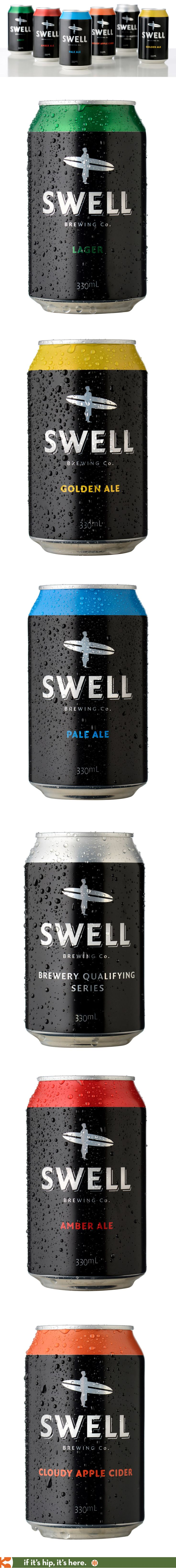 I absolutely love the look of Australia's Swell Brewing Company beer cans and branding.