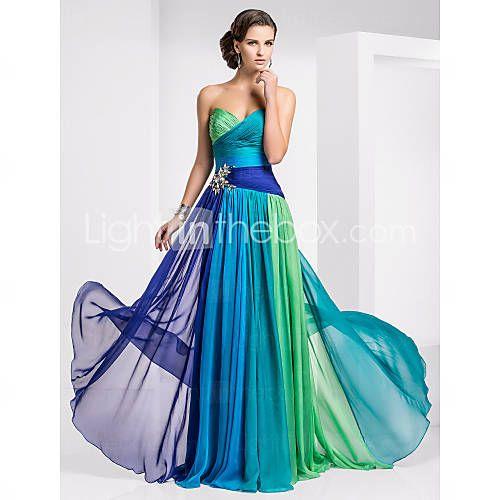Sheath/Colum Sweetheart Chiffon Evening Dress.  Pretty blue green gown