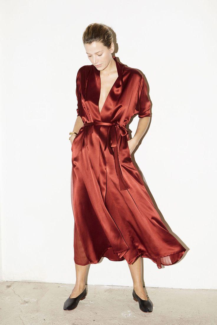 Ruby Red Satin Kimono Robe