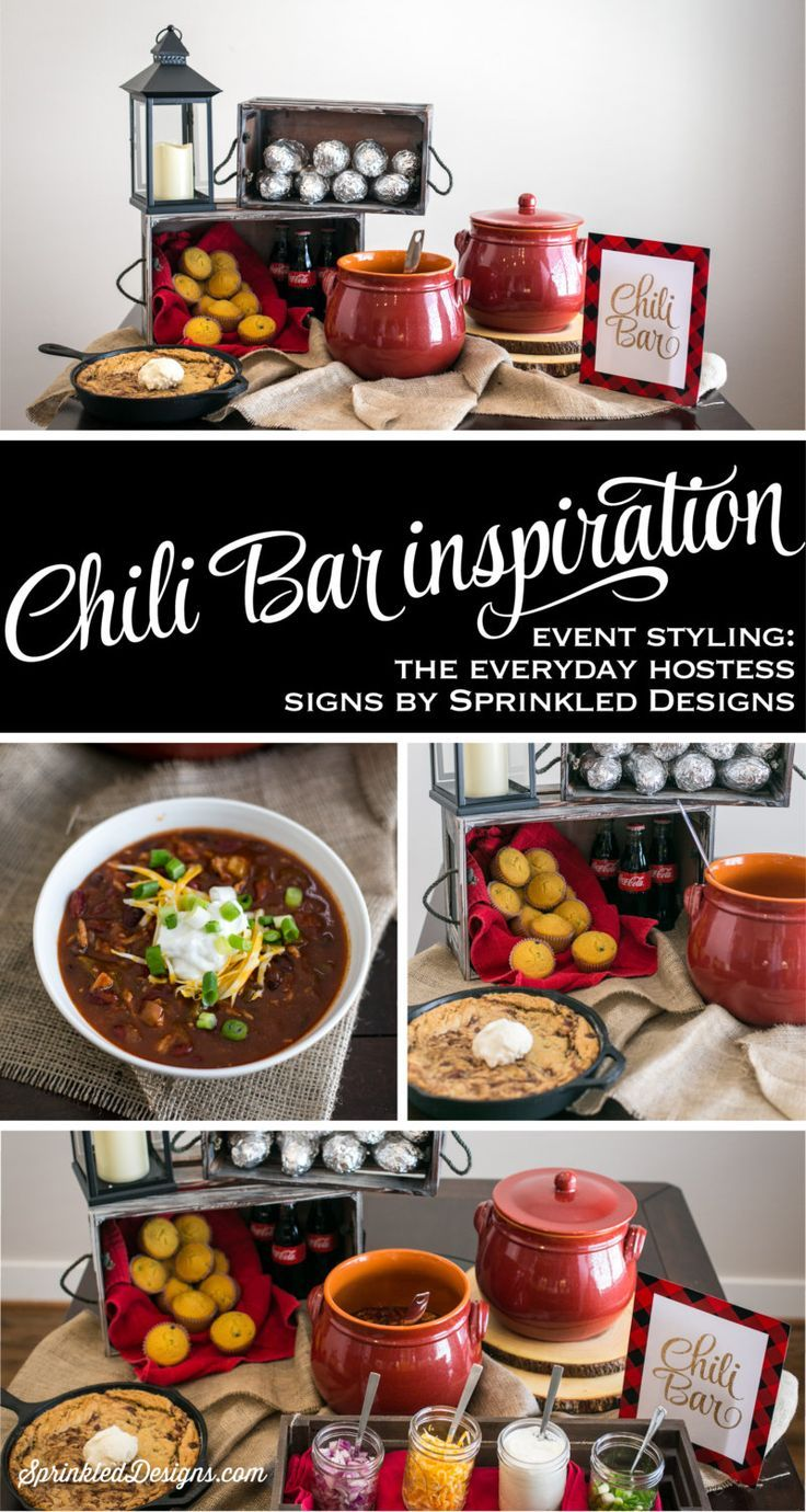 Chili Bar Sign - Gold Red Black Buffalo Plaid Flannel - Lumberjack Birthday Party Printable, Winter Birthday Baby Shower Party Decorations by http://SprinkledDesigns.com