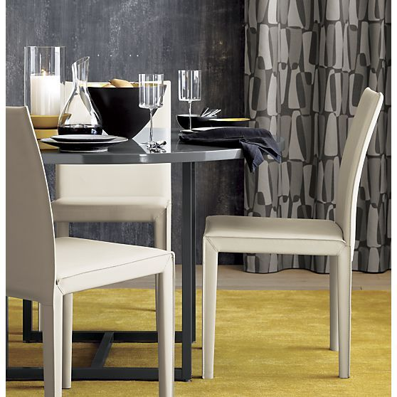 Folio Oyster Leather Side Chair In Dining Chairs
