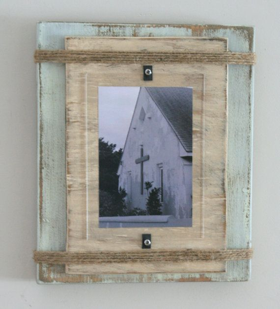17 best picture frames images on pinterest handmade picture distressed handmade picture frame pale green beige with twine sciox Image collections
