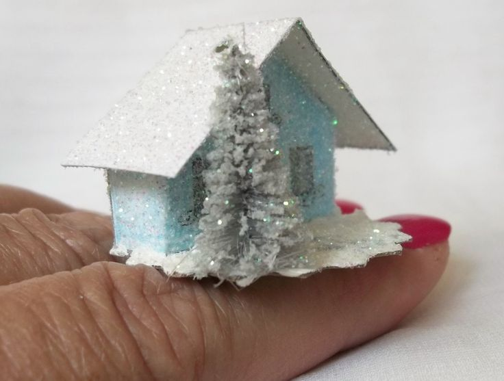 As Seen in COUNTRY WOMAN Magazine Tiny 1in Tall Vintage Putz Style Miniature Baby Blue Glitter House for Christmas Village or Tree Ornament by TheUglyDuckling1962 on Etsy
