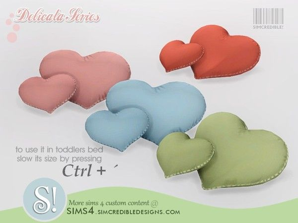 Delicata Heart Shaped Pillows By Simcredible Heart Pillows Sims 4 Sims 4 Custom Content